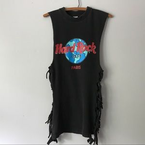 Vintage PARIS Hard Rock Cafe Black Side Tie Tee